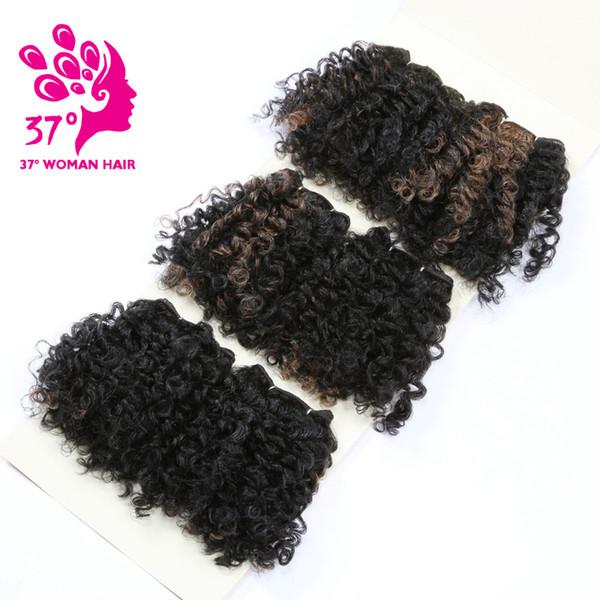 6 Bundles Bouncy Cheveux Bouclés Bundles Tissage Synthétique Ombre 6 Pcs Cheveux Trame Ka Fibre Douce Couleur Naturelle 6 pouces Pour La Tête
