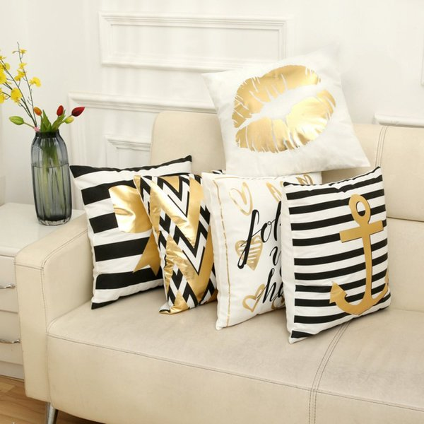 Front print And back Home Sofa Chair Bed Square Pillowcase white Printed bronzing with pillowcase Cushion Cover New NEW