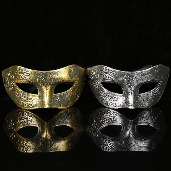 Venda quente Adorável Homens Polonês Partido Antigo Máscaras 2019 Nova Moda Prata / Ouro Venetian Mardi Gras Masquerade Partido Bola Máscara