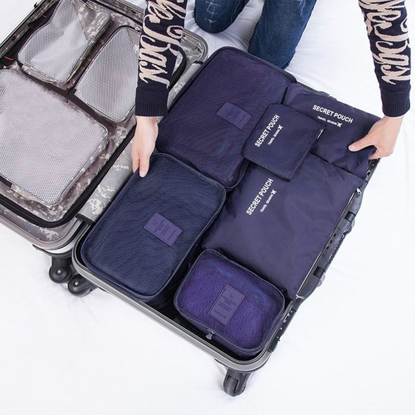 6 Pcs/set Nylon Packing Cubes Set Travel Bag Organizer Large Capacity Travel Bags Hand Luggage Clothing Sorting Bolsa De Viaje