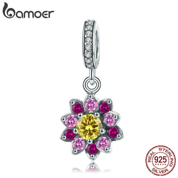 BAMOER 925 Sterling Silver Blooming Flower Colorful CZ Cubic Zircon Pendant Charms Fit Bracelets & Necklaces Jewelry SCC1009