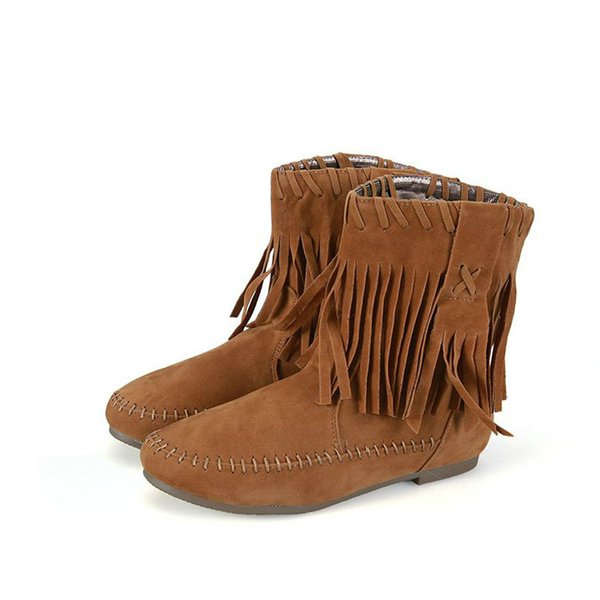 New Autumn Winter Fashion Boots Brown Flock Shoes Women Camel Lady Warm Shoe Apricot Slip On Flats Boot Tassel Big Size