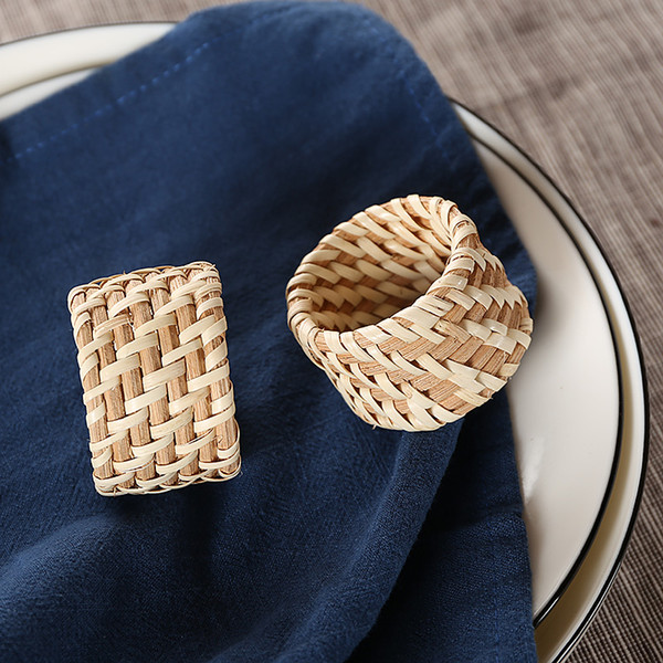 10pcs Simple green hand-woven rattan napkin ring American special hotel napkin buckle hotel restaurant ring Collectibles