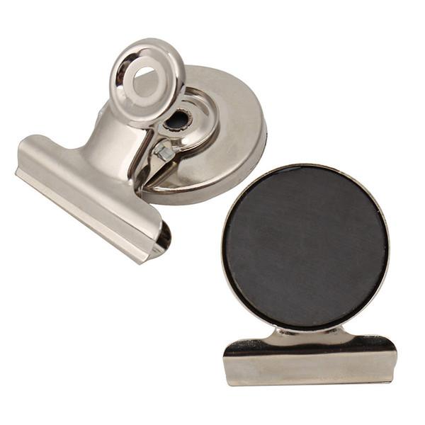 5pcs/lot 3cm Round Shape Metal Fridge Magnet Clip Silver Tone Magnetic Refrigerator Wall Memo Note Message Holder Accessories C18122201