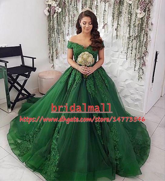 Appliques Tulle Dark Green Long African Prom Dresses 2019 Boat Neck Formal Evening Gowns Elegant Graduation Party Dress Vestido de fiesta