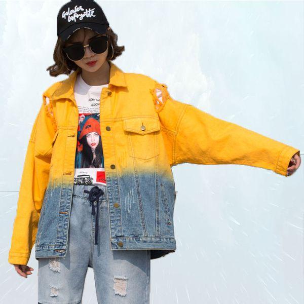 Distrutto giacca di jeans boyfriend moda giacca risvolto bicolore donna monopetto casual giacche e cappotti casaco feminino 77