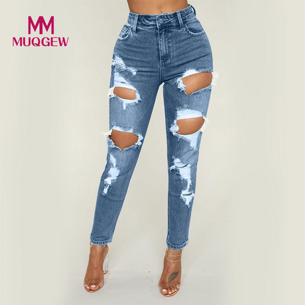 Taille haute Femme Taille Haute Stretch Mince Sexy Crayon Pantalon De Mode Femmes Jeans Denim Hole skinny jeans femme vaqueros mujer # G8