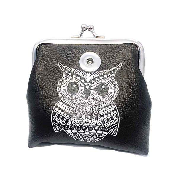 Mode eule pu leder brieftasche 016 mini tasche brieftasche 18mm druckknopf tasche geldbörse charme austauschbar schmuck für frauen jugendliche geschenk