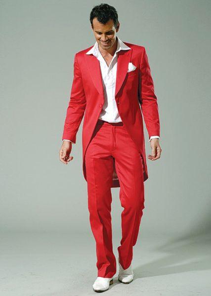 Matin / Frac style smokings marié Pic rouge Costumes Lapel Groomsmen hommes mariage / robe de bal / dîner Le meilleur homme (veste + pantalon + cravate) W221
