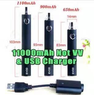 EVOD Preheat VV 1100mAh Battery & USB