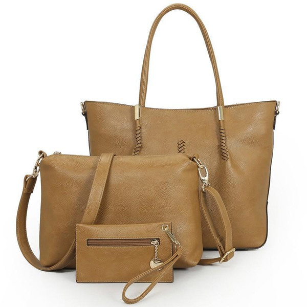 Vintage Women Leather Handbag Set Female Big Tote Bag Crossbody Bags For Women Messenger Bags Lady Hand Bolsas Bolsos Sac