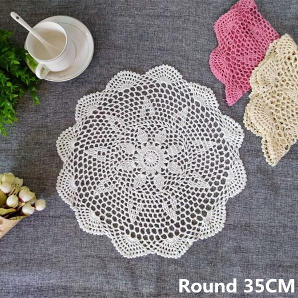 Korean Crochet Flowers Lace Cloth Drink Mat Coffee Dining Table Placemats Wedding Doilies Napkins Towels For Kitchen Home