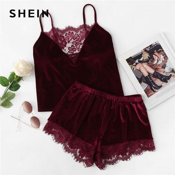 Shein 2018 Lace Trim Velvet Cami & Shorts Pajamas Set Women Burgundy Plain Spaghetti Strap Sleeveless Sexy Summer Sleepwear C19040901