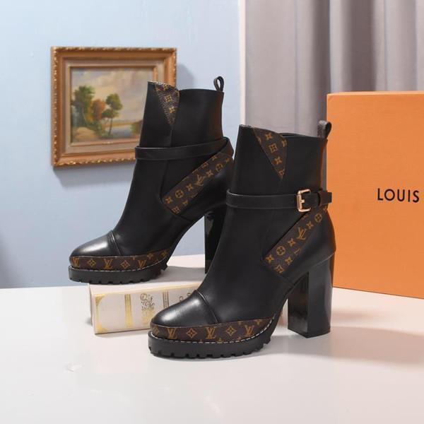 2019P neue Marke hohe Hilfe Damen beiläufige Aufladungen hoher Absatz Damen Hufnagel Stiefel dicken Boden Damenstiefel Original-Box-Verpackung