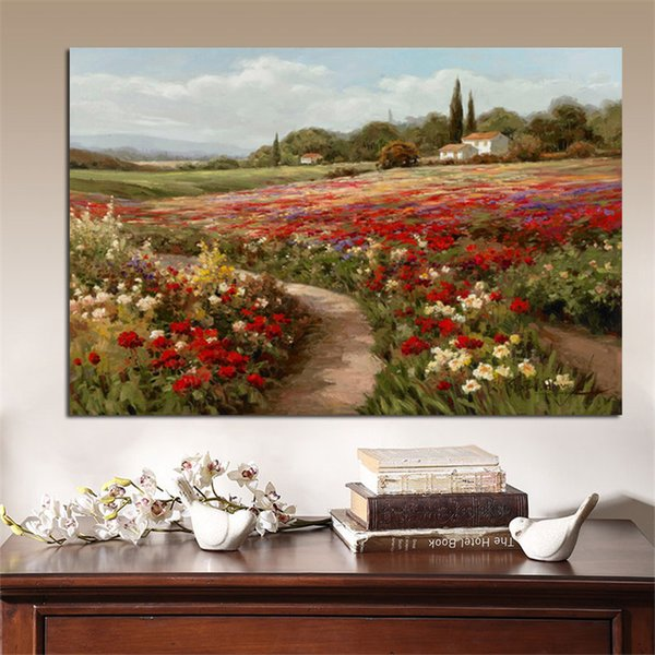 Claude Monet Poplars Poppy fields Impressionist Landscape Oil Painting on Canvas Wall Picture for Living Room