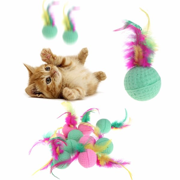 10 pcs pet dog cat toy latex balls colorful chew toys with soft feather for dogs cats puppy kitten pet supplies c42