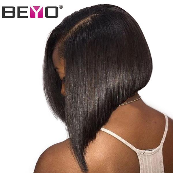 Beyo Kısa Dantel Ön İnsan Saç Peruk Siyah Kadınlar Için 13x6 Dantel ön Peruk 150% Yoğunluk Brezilyalı Düz Bob Peruk Remy Doğal Renk