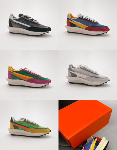 2019 new Top quality sacai ldv waffle running shoes designer mens trainers black white yellow green pink women light sneakers with Original