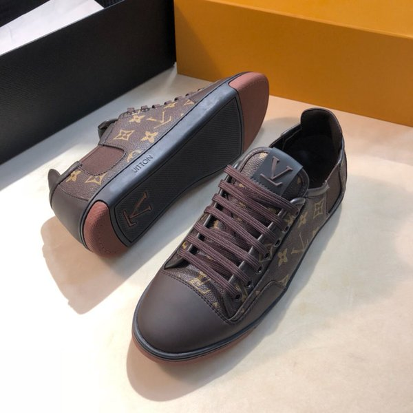 Designer luxury Men's shoes sneakers print pattern Leather fashion flat casual shoes Lace-Up basketball running shoes Size 38-45