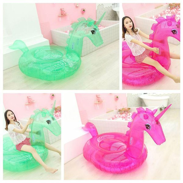 Sequins Transparent Unicorn Floats Adult Flamingo Float Swimming Ring Adult Sequins Life Buoy Floating Ring Outdoor Play CCA11540 2pcs