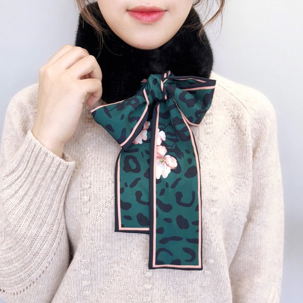 1 Adet Kadınlar Eşarp Peluş Yaka Wrap Boyun Bow Tie Isıtıcı Moda Yumuşak Kış -MX8 için
