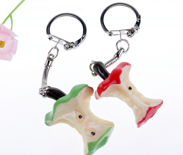 Red Green Apple Keychain Vintage Silver Charms Ring For Keys Car DIY Bag Key Chain Handbag Creative Fashion Jewelry Gifts Plastic Accessorie