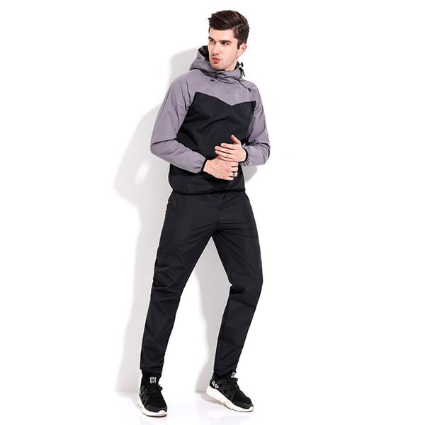 Yetişkin Tam Windproof Kapşonlu Uzun Kollu Spor Erkek Anti-ter Sıcak Ter İki Adet Trainning Seti Egzersiz Setleri İçin Set Wear
