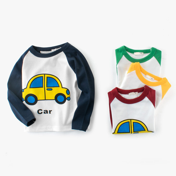2019 Spring Autumn Boys Girl T-shirt Cartoon Car Cotton Color matching Children Sports t-shirt Kids Baby Long Sleeve Tees 2-8y