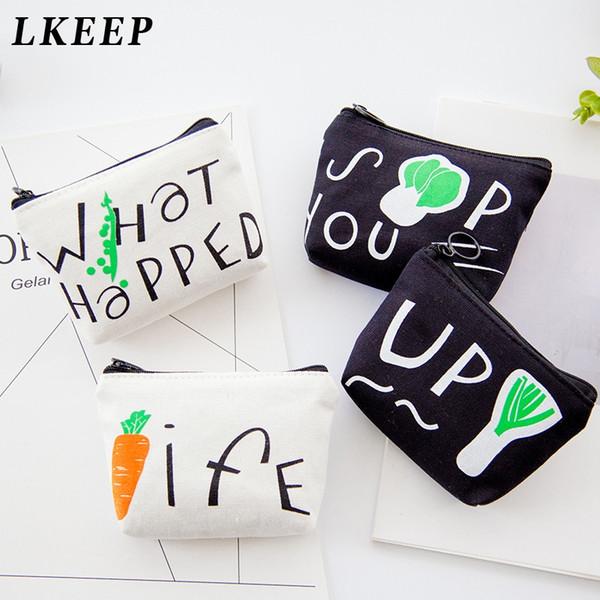 1PC Unisex Cartoon Printing Purse Card Key Mini Purse Pouch Canvas Bag Small Zipper Coin Card Holder Wallet