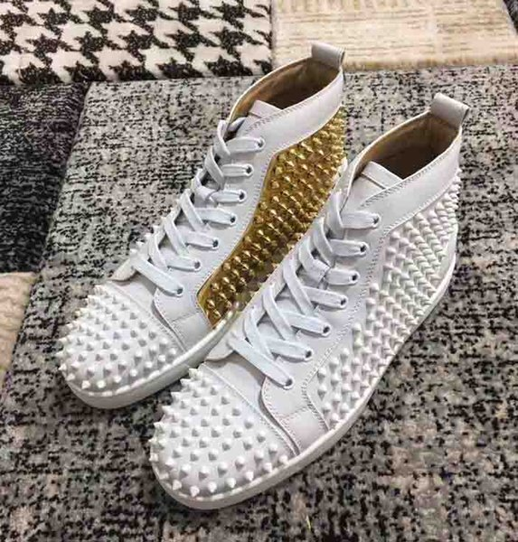 2019 Fashion Black Spikes pik Red Bottom Shoes Men Women High-Top Mixed Studded Studs Casual Sneaker Flat Genuine Leather Party Dress Footwe