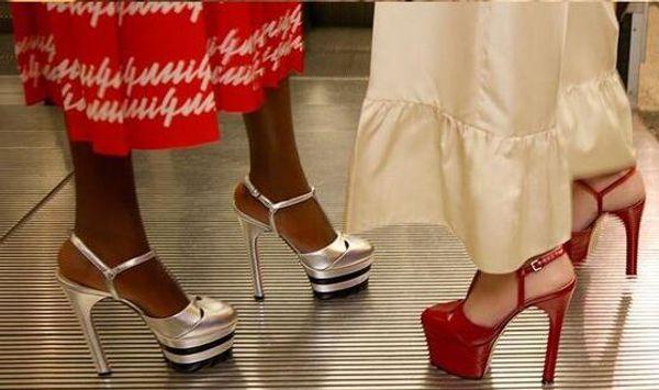 Hot Sale-fashion runway Women Striped Metallic High Heels Pumps Platform Spiked Gladiator Sandals Prom Wedding Shoes Red Blue Black Gold