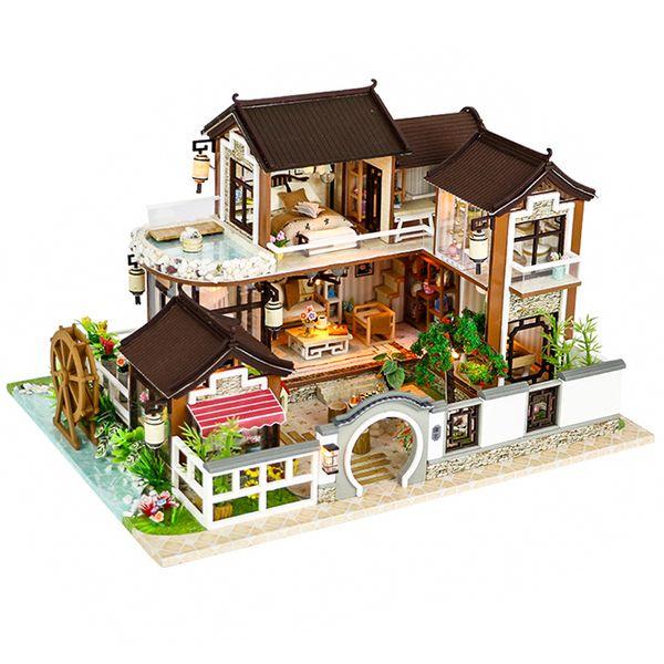 Cutebee bambola miniatura Dollhouse Diy con mobili in legno Casa countryard dweling giocattoli per i bambini regalo di compleanno 13848 Q190611