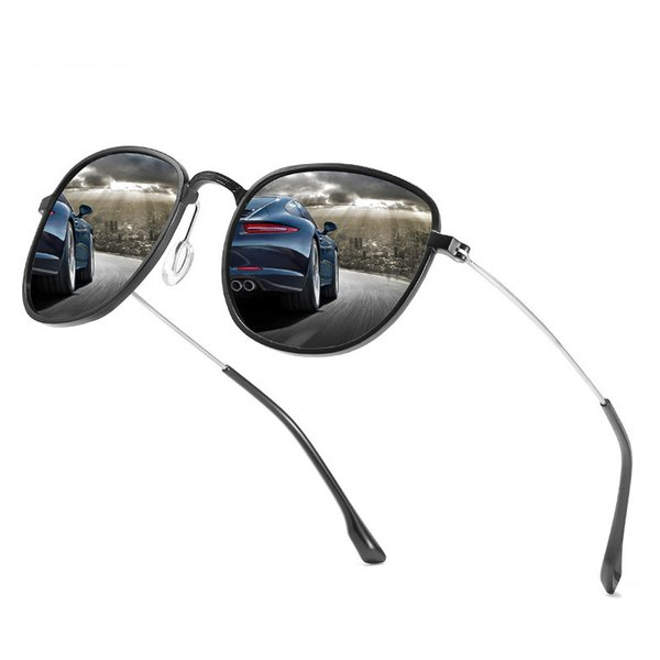 Ellen Buty Brand Design Sunglasses Men Polarized Oval Aluminium Magnesium Alloy Vintage Male Sun Glasses Driver Driving Mirrors