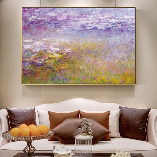Monet Nymphéas Peintures sur la peinture impressionniste célèbre mur Reproduction de toile de fleur Photos For Living Room Decor