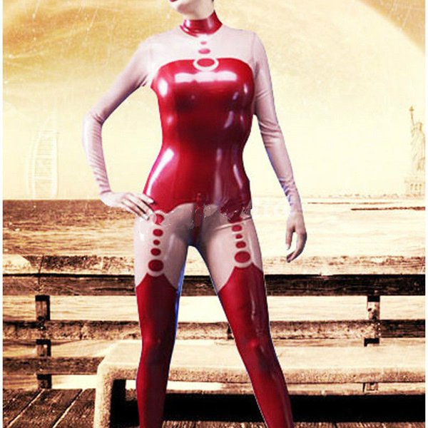 Catsuit Rouge et Rose Costume De Latex Costume Caoutchouc Joli Full Cover Body Taille XXS-XXL