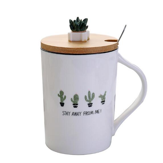 different type 350ml botany cute cactus ceramic cups creative with spoon and wood cover ceramic mug coffee cup