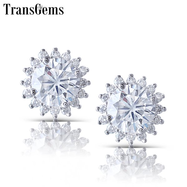 Transgems Sunflower Shape 14k White Gold Center 1ct 6.5mm Fg Color Clear Moissanite Haolo Stud Earring For Woemen Push Back Y19032201