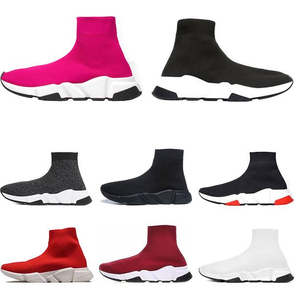 Balenciaga Diseñador hombre mujer Speed Trainer Luxury Brand Sock Shoes negro blanco rojo brillo Moda plana para hombre Entrenadores Runner tamaño 36-45