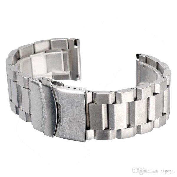 Silver Bracelet Solid Stainless Steel Watch Band Adjustable Strap Metal High Quality Watchband 18mm 20mm 22mm 24mm Mens Womens