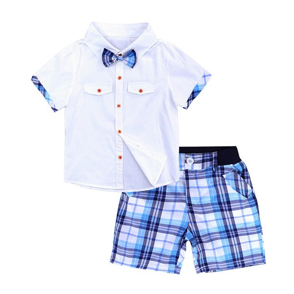 BOTEZAI erkek bebek çocuk moda papyon takım elbise yaz bebek ekose elbise çocuk gömlek + pantolon iki parça giysi