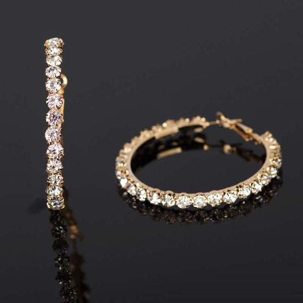 Kadınlar için yüksek Kalite Rhinestone Kristal Yuvarlak Hoop Küpe Kızlar Trendy Altın Gümüş Kaplama Dangle Küpe Moda Takı Hediye