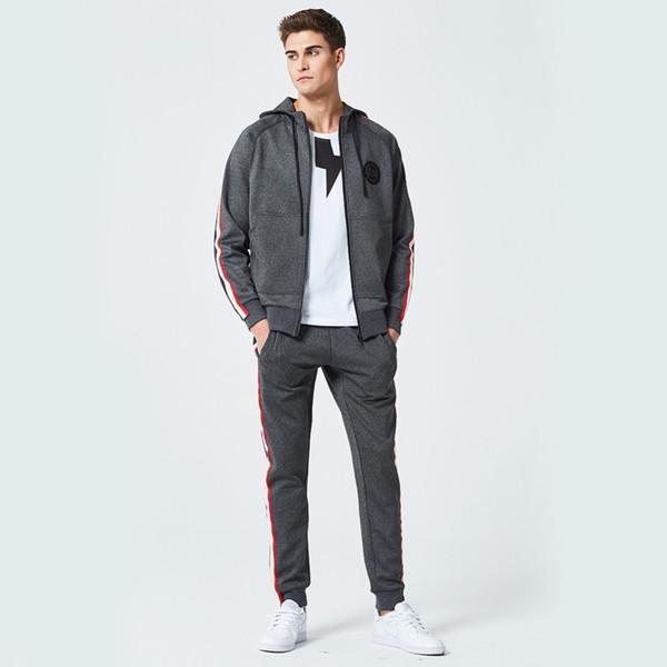 Fashion Style 2 Pieces Set Men Hooded Spring Tracksuit Sweatshirt + Pants Mens Clothing Slim Sporting Suit Male Jacket + Trouser