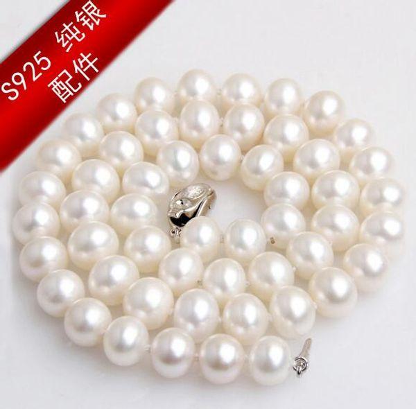 Collier de perles d'eau douce naturelles véritables grandes naturelles Zhuji en argent 925, boucle en or en argent sterling S925, 8-9-10mm rond, sans faille
