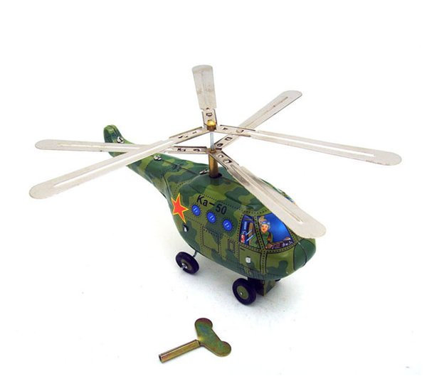 [Funny] Adult Collection Retro Wind up toy Metal Tin Military helicopter airplane Clockwork toy figures model vintage toy gift
