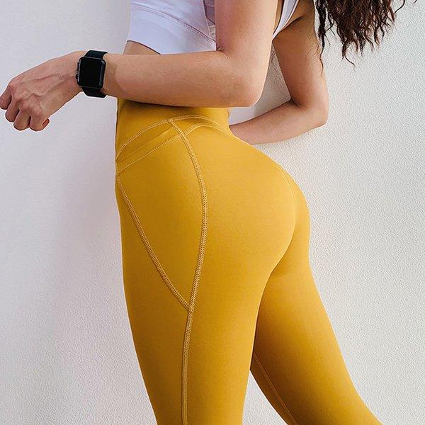 SkinnyLeggings para las mujeres Casual de cintura alta Solid Pocket High Elasticity secado rápido Fitness ropa Leggings corriendo pantalones largos delgados