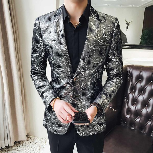 Flashlight Print Velvet Blazer Men 2018 High Quality Stylish Blazer For Mens Designer Blazer Suits Jacket Stage Costumes 5xl Y190418