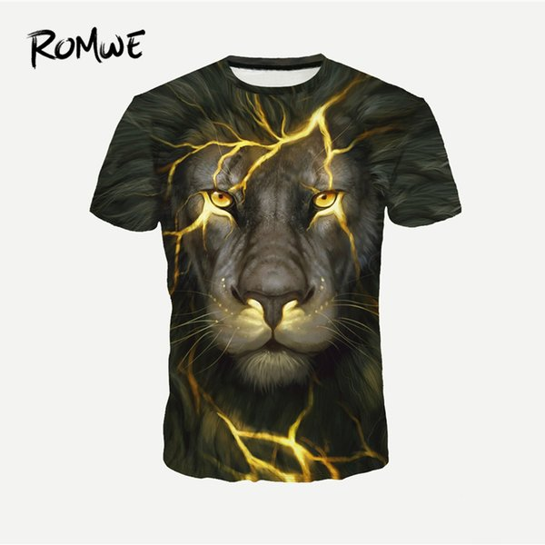 Mens Lion Print Fashion Novelty Tees 2019 Summer Round Neck Short Sleeve Tops Male Animal Pattern T-shirts