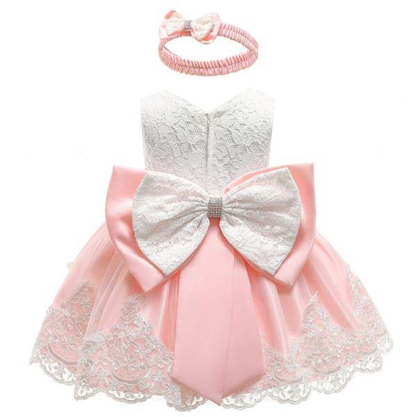 Kleines Baby High-End-Royal Princess Kleid Spitze Farbe Splice Big Bow hochwertige Elegantes Abendkleid Kind Mädchen Fokus
