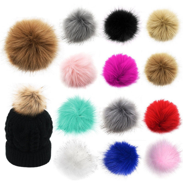 top popular 10cm 12cm 14cm 15cm PomPom Ball Faux Fox Fur Fluff Balls for Pom Pom Hat Accessories DLH331 2021