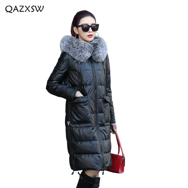 QAZXSW 2018 New Genuine Leather Down Jacket Coat Women Clothes Long Sheep Leather Jacket Hooded Full Fox Fur Collar Coats LD083